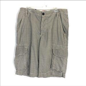 Zara mens gingham Print cargo shorts button fly